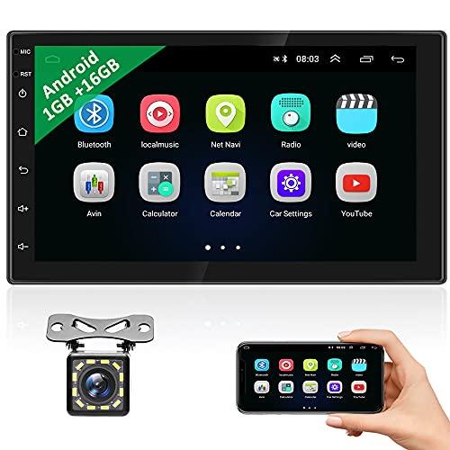 Podofo Autoradio 2 Din Android con Navigazione GPS Autoradio Touch Screen HD da 7 Pollici con Bluetooth, Telecamera per Retromarcia, Supporto Mirror Link, WIFI, USB