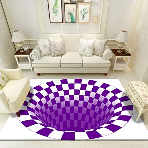 Michance Simple Modern European Style 3D Printed Carpet Rectangular Funny Carpet Vertigo Non-Slip Sofa Coffee Table Rugs Bedroom Living Room Party Rugs