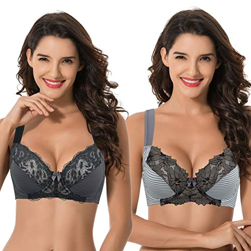 Curve Muse Plus Size Unlined Underwire Lace Bra with Padded Shoulder Straps- DK Grey Print, Grey Print- Size:44C