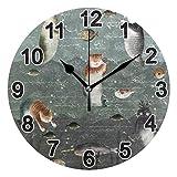FULUHUAPIN Reloj de pared de gato de sirena para baño y cocina para niña niño sin tictac, silencioso, fácil de leer para decoración de dormitorio 22.5 cm, reloj redondo 20300825