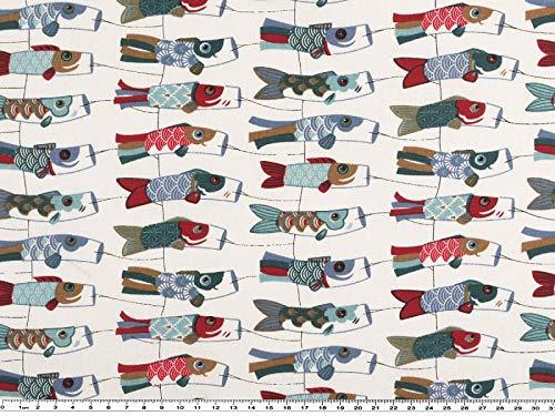 Zanderino a partire da 1 m: tessuto decorativo, uccellino a vento, drago, motivo: pesce, bianco multicolore