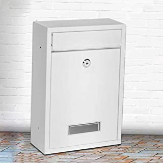 AOLI Letter Box General Manager Mailbox Inbox Home Wall Newspaper Box Outdoor Waterproof with Lock European Suggestion Box Mailbox,White