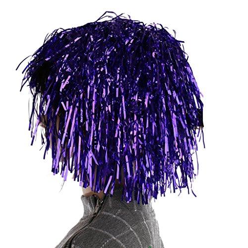 Generic Festival Perruque Lamé pour Adulte Accessoire Costume Déguisement pour Nouvel An Soirée Carnaval - Violet