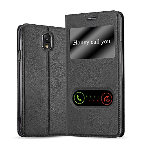 Cadorabo Hülle für Samsung Galaxy Note 3 - Hülle in KOMETEN SCHWARZ – Handyhülle im Standfunktion und 2 Fenstern (View Design) - Case Cover Schutzhülle Etui Tasche Book Klapp Style