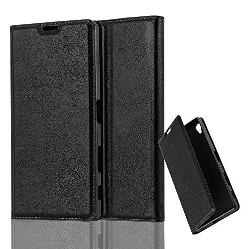 Cadorabo Hülle für Sony Xperia Z5 Premium in Nacht SCHWARZ - Handyhülle mit Magnetverschluss, Standfunktion & Kartenfach - Hülle Cover Schutzhülle Etui Tasche Book Klapp Style