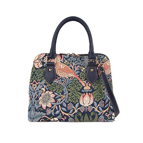 Signare Tapestry Arazzo Top Handle borsa borse donna, borsa donna tracolla con William Morris Designs (Strawberry Thief Blue)
