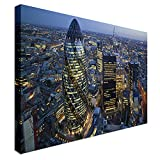 Qbbes, City of London Skyline At Sunset - Gherkin Canvas Wall Art Picture Print-32x24inch(80x60cm)no frame