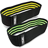 Tribe Lifting Resistance Hip Bands | Leg Band for Hip Work Out or Physical Therapy | Resistance Loops, Non-Slip Elastic Grippy Inner Layer | Men and Women | Black (15-inch, 2-Pack)