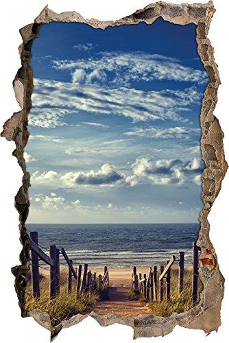 Weg zum Strand am Meer Wanddurchbruch im 3D-Look, Wand- oder Türaufkleber Format: 92x62cm, Wandsticker, Wandtattoo, Wanddekoration
