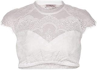 MarJo Damen Dirndl-Spitzen-Bluse hochgeschlossen Offwhite, Offwhite,