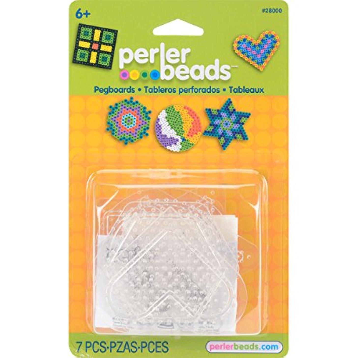 Perler Beads Basic Shapes Clear Pegboard Set, 7 pcs