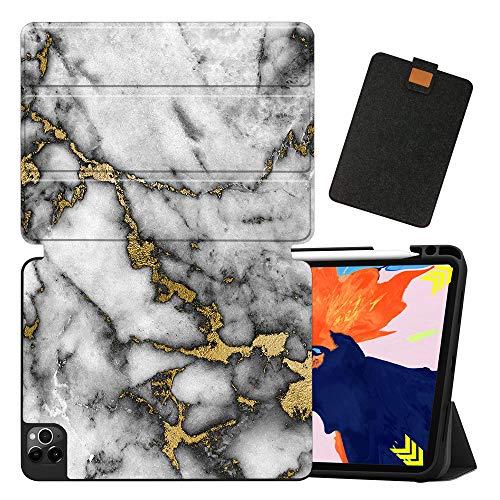 MAITTAO Funda para iPad Pro 12.9 con funda para portátil (2020 4ª generación), soporte para lápiz Apple y carga inalámbrica – Soporte magnético de piel para iPad Pro 12.9 2020, mármol 16