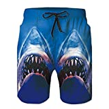 Freshhoodies Mens Quick Dry Swim Trunks Sports Board Shorts Blue Bloody Shark Swimwear Trunks with Mesh Lining Tropical Hawaiian Holiday Volley Beach Shorts,X-Large