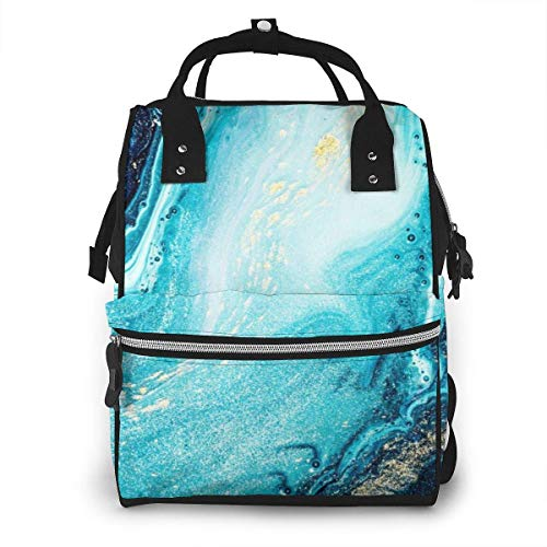 UUwant Mochila de pañales Momia Sapphire Colors Abstract Ocean Art Diaper Bags Large Capacity Diaper Backpack Travel Nappy Bags Mummy Backpackling