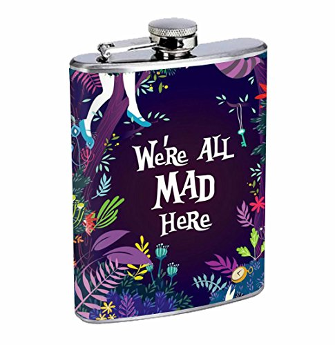 We're All Mad Here Alice Classic Fantasy 8oz Stainless Steel Flask Drinking Whiskey
