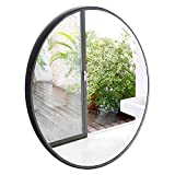 Espejo de pared de entrada, baño, dormitorio, estructura de metal moderno espejo redondo de 3,5 cm de ancho negro,80CM