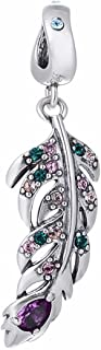 Colourful CZ Feather Dangle 925 Sterling Silver Bead Fits Pandora Charm Bracelet