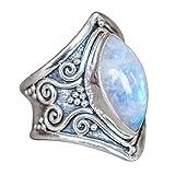 VJGOAL Damen Ring, 1PC Frauen Boho Schmuck Silber natürlichen Edelstein Marquise Mondstein personalisierte Ring Frau Geschenk (6, Silber)