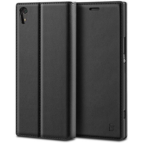 BEZ® Sony Xperia XA1 Hülle, Handyhülle Kompatibel für Sony Xperia XA1 Tasche, Flip Case Cover Schutzhüllen aus Klappetui mit Kreditkartenhaltern, Ständer, Magnetverschluss, Schwarz