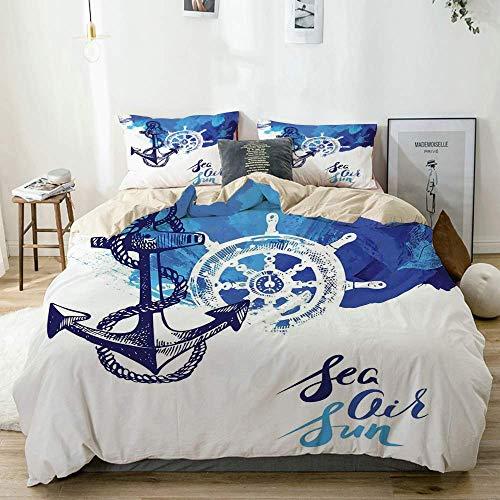 Juego de funda nórdica Beige, efectos de pintura náutica vívida en el fondo del océano Rosa de los vientos y timón Imagen de crucero Azul y blanco, juego de cama decorativo de 3 piezas con 2 fundas de