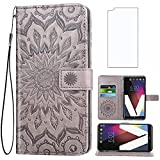 Asuwish Phone Case for LG V20 Wallet Cases with Tempered Glass Screen Protector and Sunflower Leather Slim Flip Cover Credit ID Card Holder Stand Cell Accessories LGV20 LG20 V 20 Women Men Gray