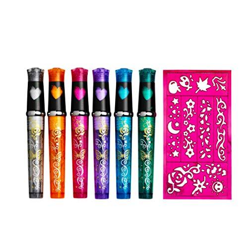 Panduro Tattoo Stifte Set mit 6 leuchtende Glitzer Farben Marker für Kinder ab 6 Jahre - inklusive Schablonen