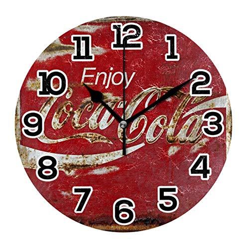 Coca Cola Vintage Orologio da Parete Decorativo Acrilico Rotondo a Batteria Orologi Da Parete per Casa Camera Da Letto Soggiorno Decor Silenzioso Non ticchettio