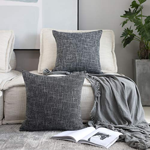 Kevin Textile Set of 2 Decorative Pillows Covers for Couch Star Faux Linen Sofa Pillows Cover 16 x 16 inch, 40x40cm, Black