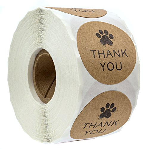 """1.5"""" Round Kraft Paw Print Thank You Stickers / 500 Dog Paw Print Thank You Labels per Roll"""