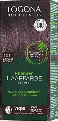 LOGONA Naturkosmetik Pflanzen-Haarfarbe Pulver 101 Schwarz Intense, Mit Avocadoöl Vegan & Natürlich, Schwarze Natur-Haarfarbe mit Henna, Black Coloration, (1 x 100g)