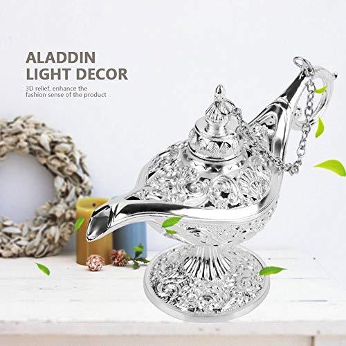 Preisvergleich Produktbild Hoseten Wunschlampe,  Retro Style Antike Style Genie Lampe,  Legend Aladdin Lampe,  für Wohnkultur zur Aufbewahrung von Schmuck(Silver)
