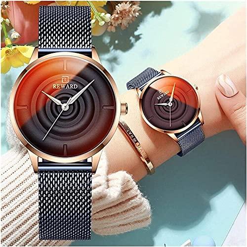 Marca Mujeres Relojes Top Luxury Acero Inoxidable Reloj de Cuarzo Impermeable Ladies Color Cambio de Cristal Reloj de Pulsera S (Color: Negro)-Oro Rosa Evolutions