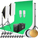 HAKUTATZ Juego de Estudio fotográfico Profesional, lámpara de Estudio, Sets de Estudio, Sistema de Fondo con 2 Fondos trípode de lámpara Reflector 5 en 1, softbox, fotografía con Funda Protectora