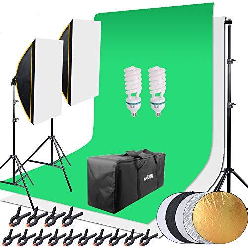HAKUTATZ® Profi Fotostudio Set Studioleuchte Studiosets Hintergrundsystem inkl. 2X Hintergrund(weiß, grün) 5-in-1 Reflektor Lampenstativ Softbox Fotografie mit Schutztasche Greenscreen Set