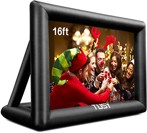 Tusy 16 Feet Inflatable Outdoor and Indoor Mega Movie Projection Screen -Includes Inflation Fan,Tent Pile, and Full Package with Storage Bag