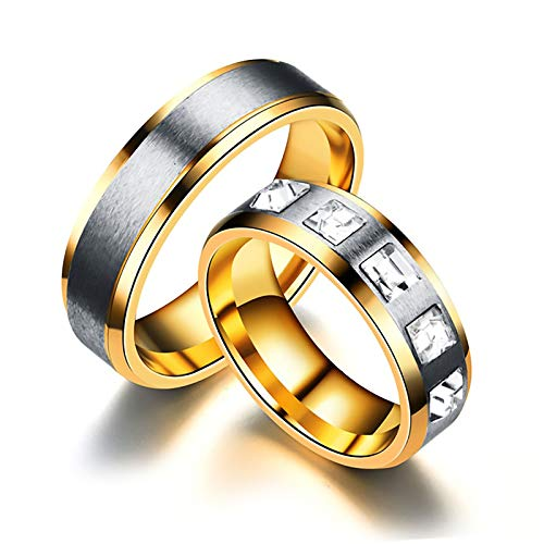 LONG-D Stainless Steel Couple Rings for Couple Zircon Ring,B,10= 20mm