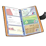 LOYMR 300 Cards PU Leather Business Name Card Books Office Business Card Holder Credit Cards Organizer Black