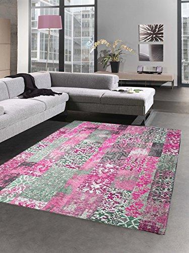 CARPETIA Moderner Teppich Designer Teppich Orientteppich Patchwork Kelim Teppich pink grau Größe 120x170 cm