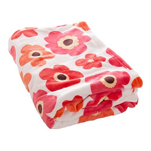 アイリスプラザ 毛布 ダブル ブランケット プレミアムマイクロファイバー 洗える 静電気防止 とろけるような肌触り fondan 品質保証書付 花柄レッド 180×200cm