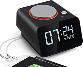 Homtime Black Digital Alarm Clock - Dual USB Charger Ports for Phones Dimmable LCD Screen Snooze Function Designed for Bed...