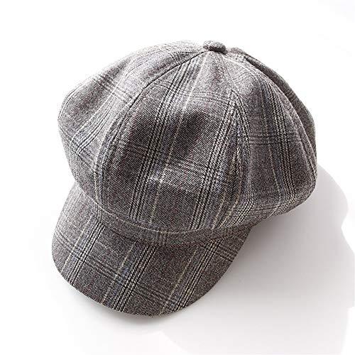 Gu3Je Schön Herren Damen Flatcap Ballonmütze Maler Cap Baker Boy Hüte Beret Für Frauen (Color : Coffee, Size : 56-58cm)
