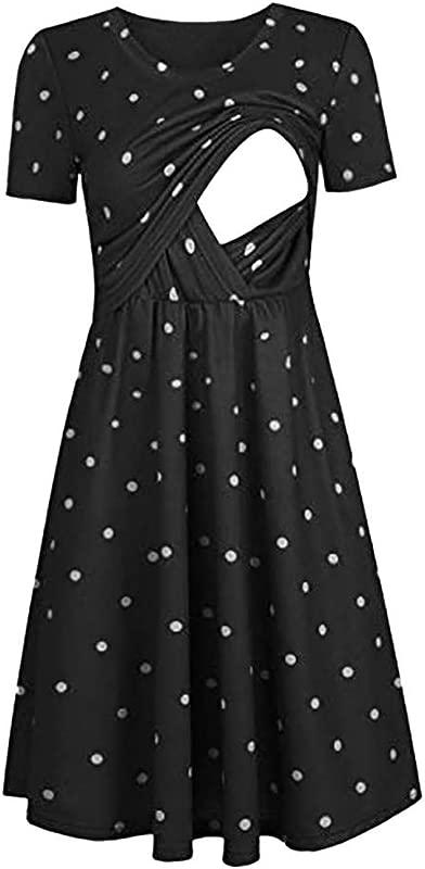 Women Dot Print Maternity Dresses Tank Short Sleeve Dresses Summer Midi Nursing Dresses Breastfeeding Dress For Baby Shower And Daily Wearing