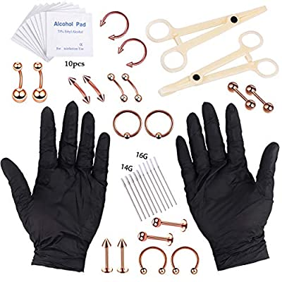 YOFANST Body Piercing Kit Ear Eyebrow Nose Tongue Lip Nipple Belly Button Piercing Jewelry 14G 16G Included Gloves Tools Set M