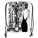 Fevthmii Drawstring Backpacks, Paris City Dekoration, Young Elegant Woman in A Black Dress in Paris Street Old Building Facade Cityscape, Soft Satin, Verstellbarer String Closure