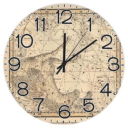 Vintage Star Maps - Reloj de pared redondo de madera de 30,5 cm, reloj rústico para el día del padre, día de la independencia, hogar, cocina, dormitorio, baño, oficina, sala de estar, comedor.