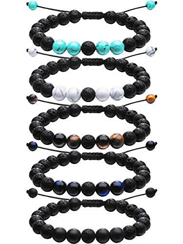 Tatuo Adjustable Lava Rock Stone Essential Oil Diffuser Bracelet Braided Rope Stone Yoga Beads Bracelets for Men Women (5 Colors Set A) (Style Set A)