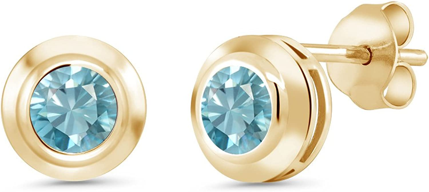 Gem Stone King 1.70 Ct Round 5mm bluee Zircon 18K Yellow gold Plated Silver Stud Earrings