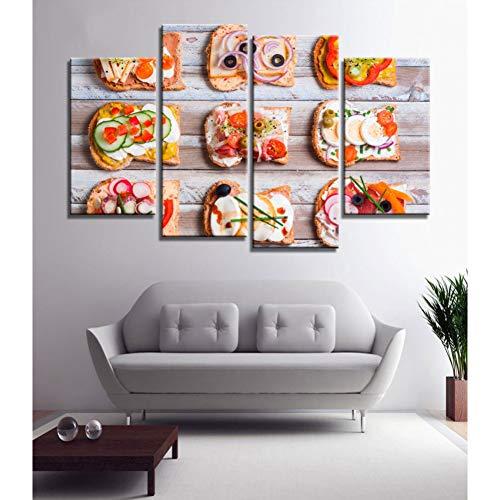 Wlezy schilderij, 4-delig, kip, tarwe, brood, specerijen, lekkere levensmiddelen, druk op canvas, kunstdruk, canvas, slaapkamer, decoratie