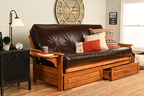 Kodiak Furniture Phoenix Futon Set with Oregon Trail Java Mattress and Storage Drawers, Full, Barbados