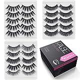 Natural False Eyelashes Lashes Pack - 15 Pairs 3 Styles Fake Eyelashes Wispies Lashes BTArtbox 3D Cross Reuseable Handmade Soft Eye Lashes, J-02